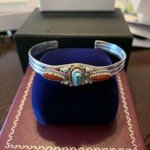 Navajo Turquoise And Coral Silver Bracelet Cuff